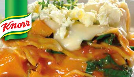 Spinach, butternut and feta lasagna