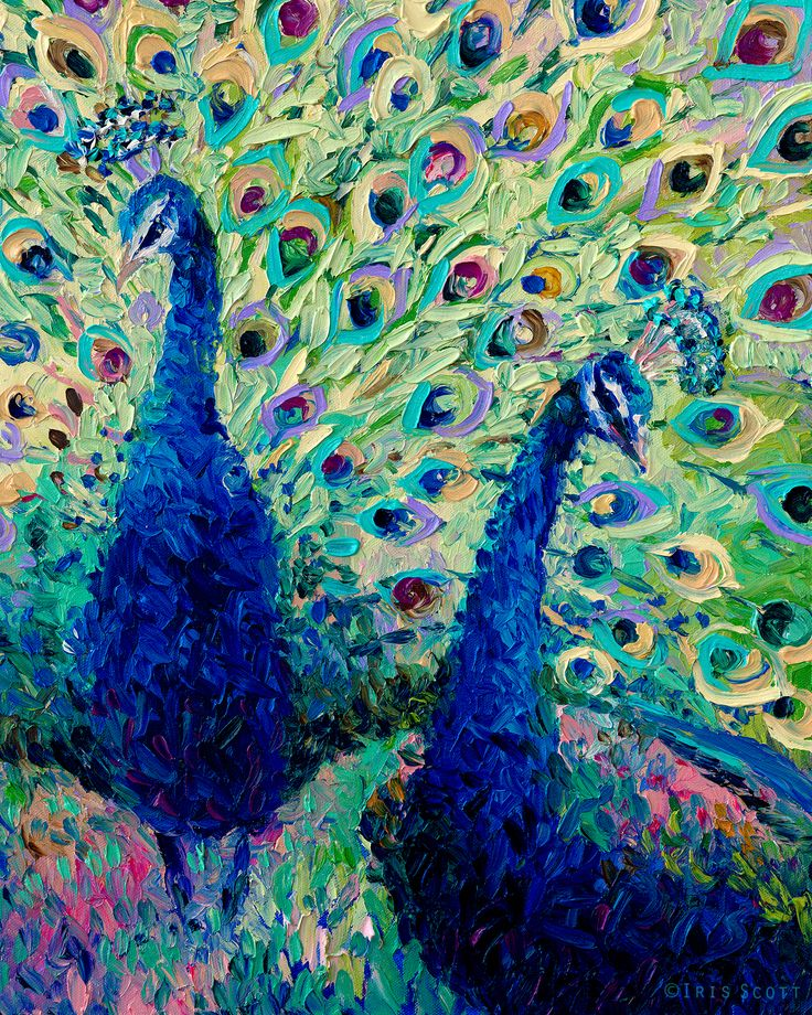 """Gemini Peacocks"" - Fingerpainting by Iris Scott. Original at Cole Gallery in Edmonds, WA.    Oil painting, peacock, birds, peacock painting, feathers, art, artist, finger painting artist,"