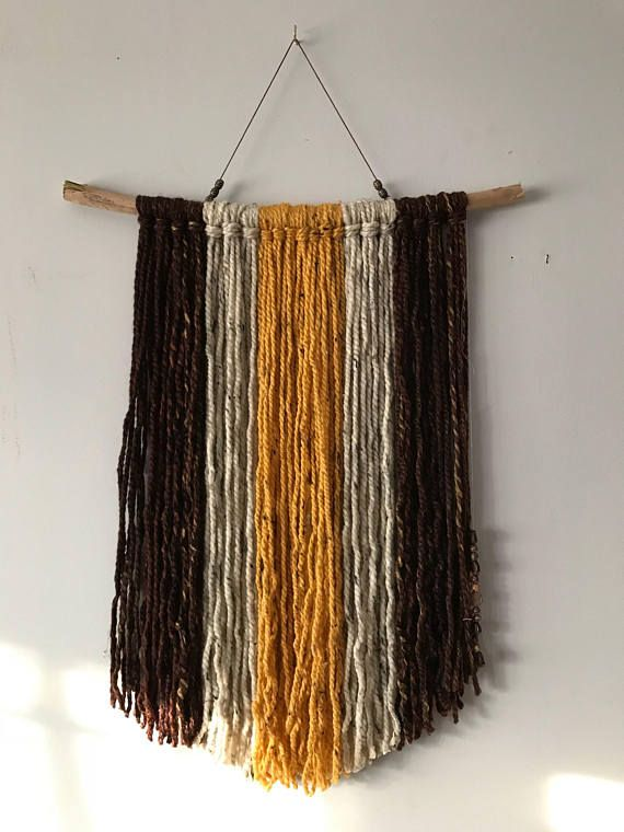 "Handmade boho style wool yarn wall hanging! Mustard, light tan and brown! 23"" by 19"""