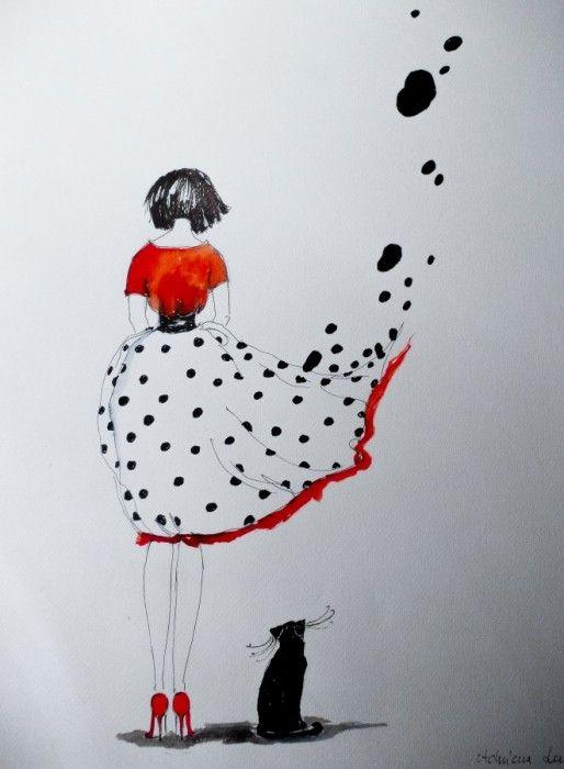 """""""BEZSILNOŚĆ"""" praca akwarelą i piórkiem wykonana przez artystkę plastyka Adrianę Laube na papierze A3."""