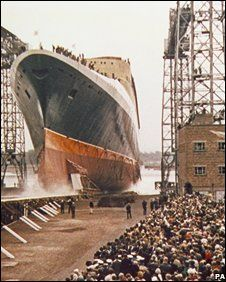 QE2 Cunard Line at her launch into the River Clyde at Glasgow, Scotland