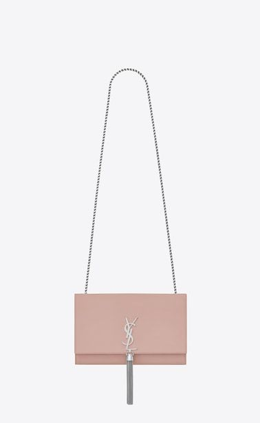 SAINT LAURENT MONOGRAM KATE WITH TASSEL Femme sac à chaine medium à pompon  kate en cuir blush pâle a V4 4d67724ad9fb6
