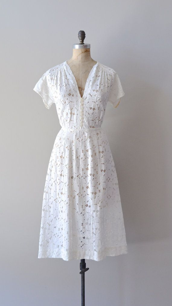 vintage 40s dress / white 1940s dress / Oleander Lace dress