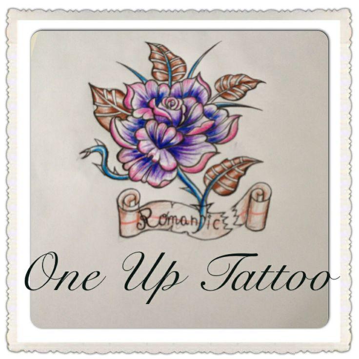 Purple rose tattoo sketch