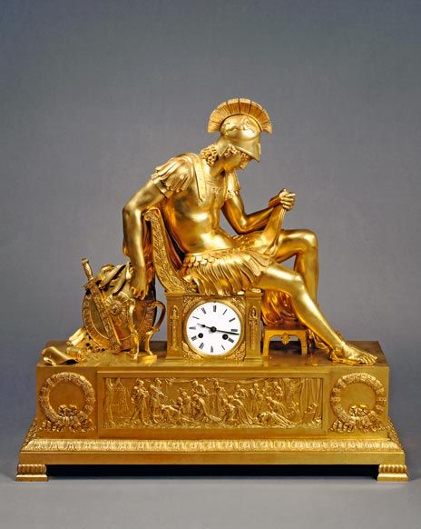 Table clock: the vigil of Alexander the Great Russia, St Petersburg (?), after original by Pierre Philippe Thomire. 1830-40 (?) Bronze, cast, chased and gilded, 70 x 30 x 70 cm Images - Hermitage Amsterdam