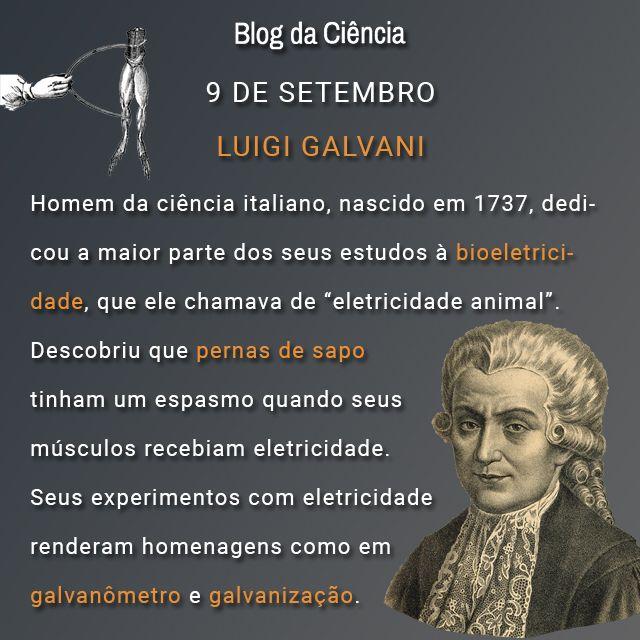 """Luigi Galvani nasceu na Itália em 1737 e dedicou a maior parte dos seus estudos à bioeletricidade, que ele chamava de """"eletricidade animal""""."""