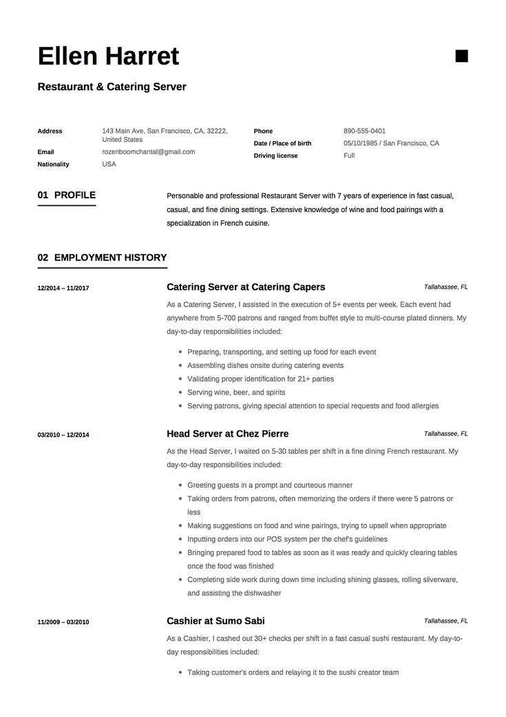 10 best Job hunting images on Pinterest Resume templates, Resume - waitress resume