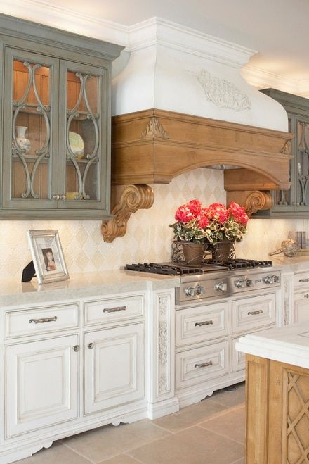 modern rustic kitchen with damask handmade tile combining finishes rh pinterest com