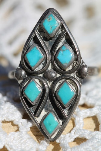 Vintage Southwestern Tribal 925 Sterling Silver Turquoise Double Heart Ring | eBay