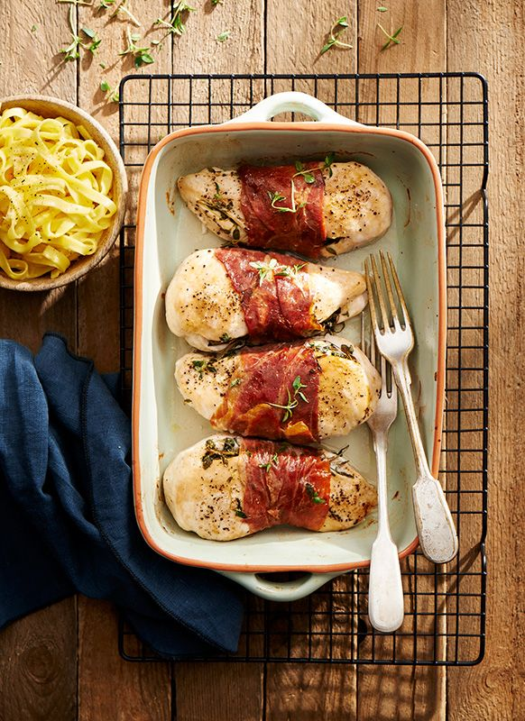 Breast with thyme wrapped in prosciutto