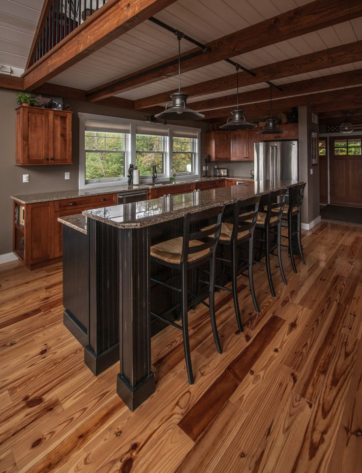 Moose Ridge Lodge Kitchen. Chick thru for more pics & fl plns of this smaller barn home. #barnhouseplans #barnhomes #smallhouseplans #smallhome #barnhomeplans #barnhouses #postandbeamhomes