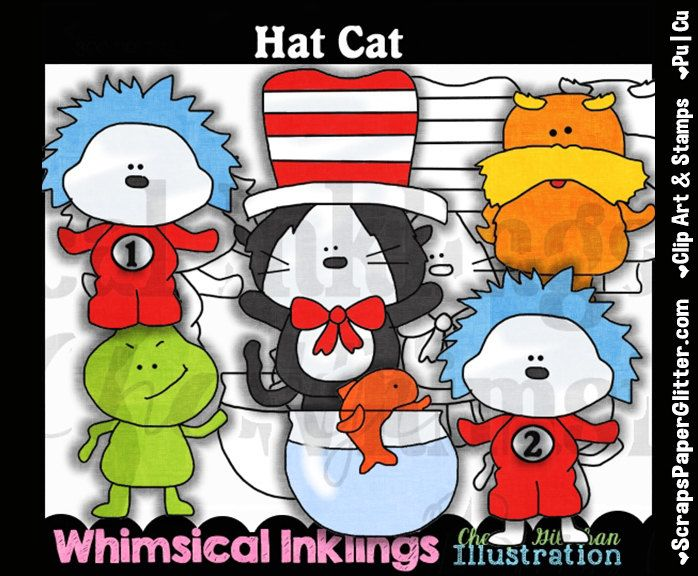 Cat In The Hat Clip Art, BONUS Lineart, Commercial Use, Digital Stamps, Clipart, Black White, Storybook, Dr Suess, Dr Seuss, Learning Center by ResellerClipArt on Etsy