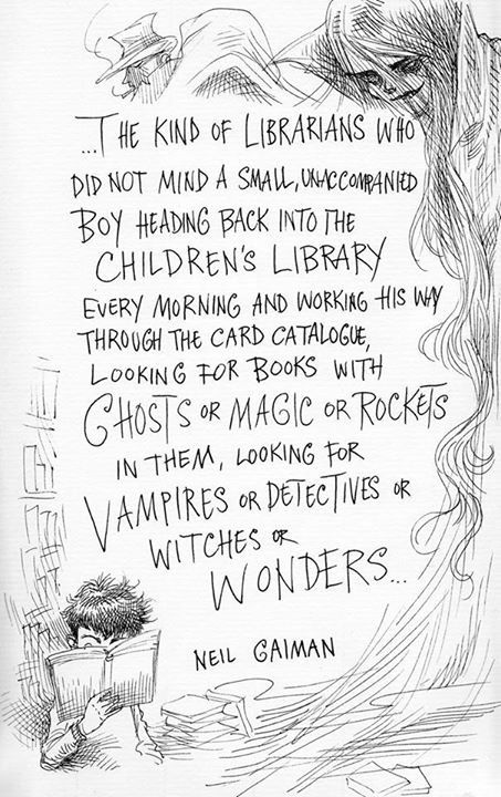 9 best digital agedigital literacy images on pinterest digital these illustrated neil gaiman quotes about librarians will just make you want to hug a kitten fandeluxe Image collections