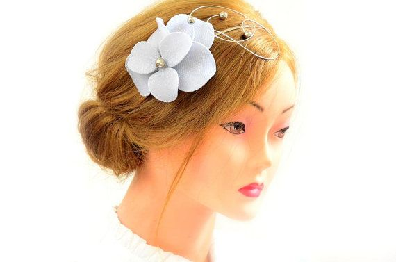 Silver fascinator headband Silver hairpiece Hair flower Silver
