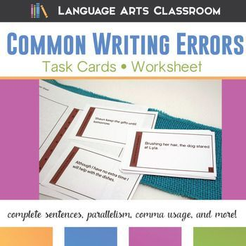 8th Grade Grammar  and Writing Errors - Task Cards to review parallelism, common use, misplace modifiers, and more.