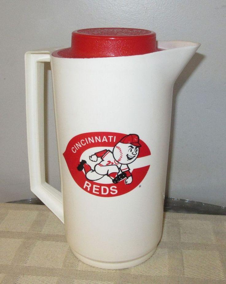 Vtg Cincinnati Reds Hudepohl Beer Plastic Pitcher Little Kings Burger Hudy #Alladinware #CincinnatiReds