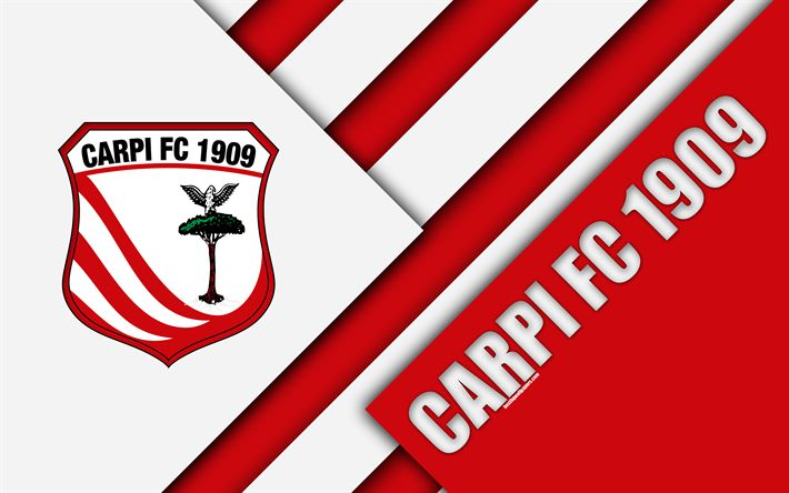 Download wallpapers Carpi FC, 1909, 4k, material design, logo, red white abstraction, emblem, Italian football club, Carpi, Italy, Serie B