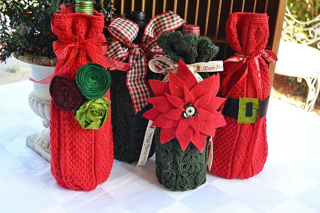 sweater sleeve wine bottle bags - how to. EASY! i like the felt poinsettia too
