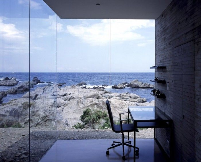 House O by Sou Fujimoto Architects. Weekend house for a couple. Built atop a rocky shoreline. Tree-like plan that is a continuous space which branches off into separate spaces. Framing of cave-like views of the ocean. Space in relationship to water/environment.