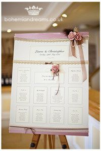 lace, paper roses and feather table plan www.bohemiandreams.co.uk