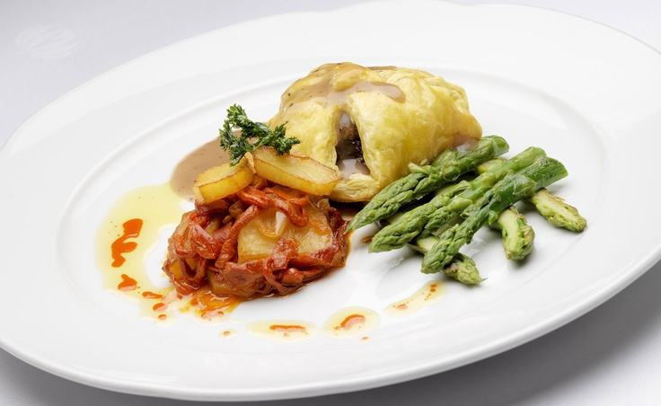 Veal Wellington au turron wild asparagus and potato piperade #food