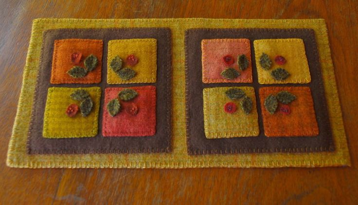Wool applique penny rug candle mat by HorseAndBuggyCountry on Etsy