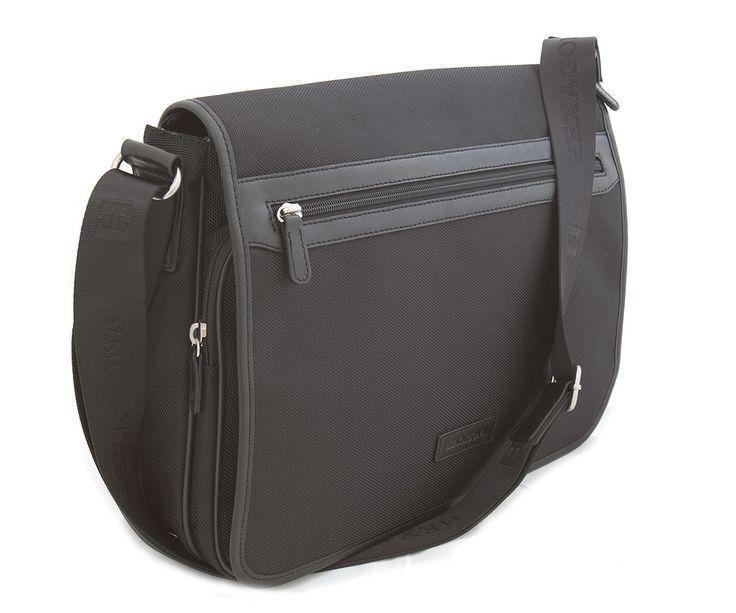 #taška #notebook Černá pánská luxusní taška Hexagona s klopou na dva magnetické cvočky. Uvnitř – jedna kapsa na zip a jedna bez zipu. Zepředu – pod klopou kapsa na zip a bez zipu. Zezadu – kapsa na zip. Součástí tašky je popruh (nylon). Materiál nylon.