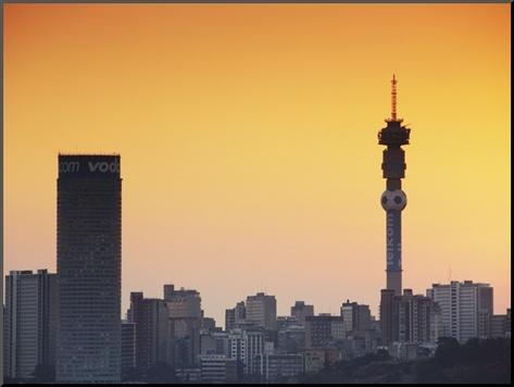 Johannesburg Skyline at Sunset, Gauteng, South Africa