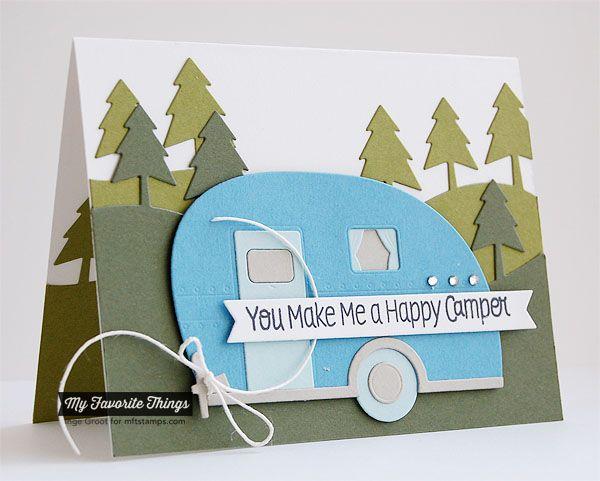 Roughing It, Campy Tree Lines Die-namics, Happy Camper Die-namics - Inge Groot #mftstamps
