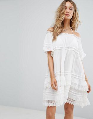 Surf Gypsy Off The Shoulder Crochet Beach Dress