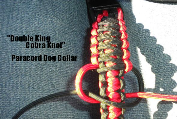 How to make a paracord dog collar double king cobra knot for Paracord leash instructions