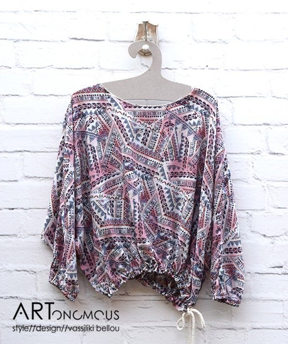 Printed shirred blouse