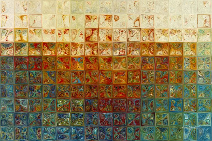 The Modern Tile Art technique is similar to the grid technique pioneered by modern artist Chuck Close. Each of the tiles in this work have been meticulously hand colored in a distinctive method create