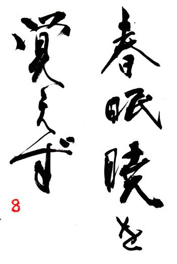 "Japanese proverb 春眠暁を覚えず shunmin akatsuki wo oboezu "" In spring one sleeps a sleep that knows no dawn."""