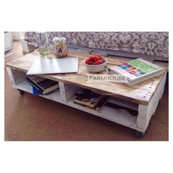 Pallet Coffee Table   White Washed U0026 Waxed Top Part 55
