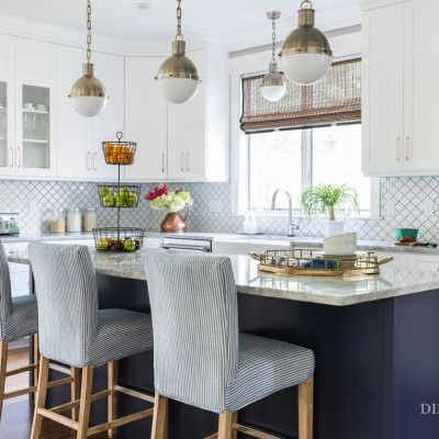 White, navy and gold kitchen design | Dina Holland Interiors Project