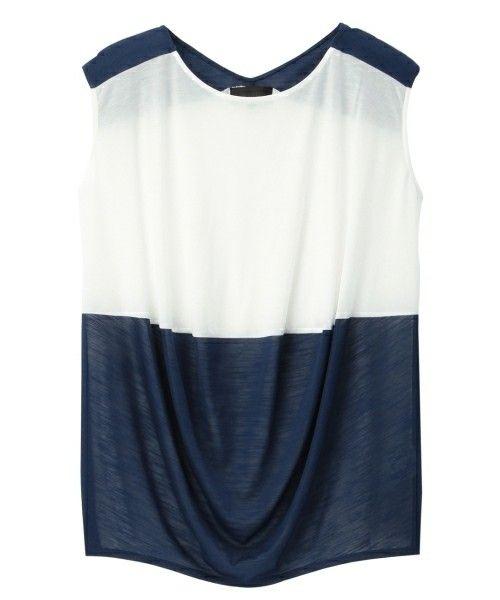 UNTITLED(アンタイトル)の[L]バイカラードレーププルオーバー(Tシャツ/カットソー)|ネイビー