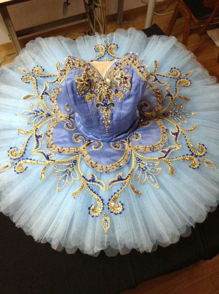 Beautiful corn-flower blue and gold tutu
