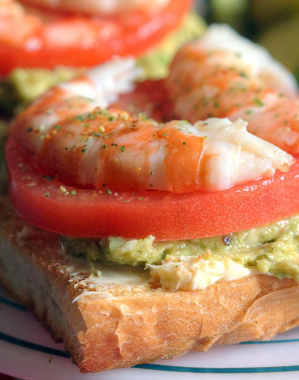 Shrimp, Tomato, and Avocado on Buttered French Bread | 14 Next-Level Avocado Sandwiches That Will Change You Forever