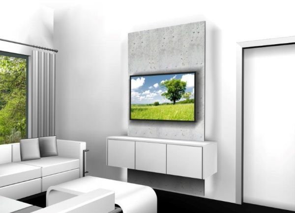TV Wand 1.200 mm Betonoptik mit Sideboard weiß Hochglanz | Tv wall ...
