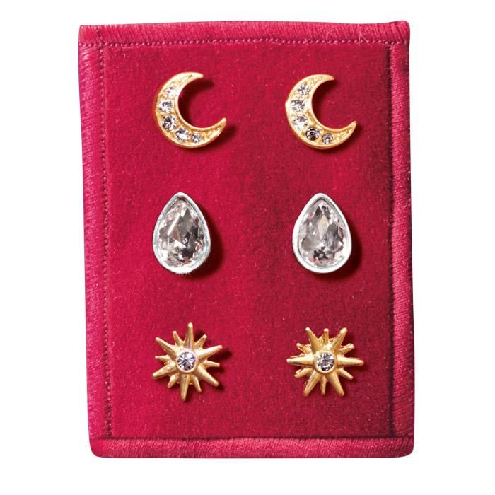 #Avon Celestial Stud Earring Trio. Three pairs of stud earrings in limited edition set choices of: Sweet Bow, Celestial, Endless Love and Peace Dove. Post and bullet clutch backs, Packaged on a red background and ready for holiday gift giving. Regularly $9.99. FREE shipping with any $40 online Avon purchase. #CJTeam #Style #Sale #Jewelry #Fashion #Stylish #C24 #Earrings #Celestial #StudEarrings #Christmas #Gift #Modern #Avon4Me Shop Avon jewelry online @ www.TheCJTeam.com