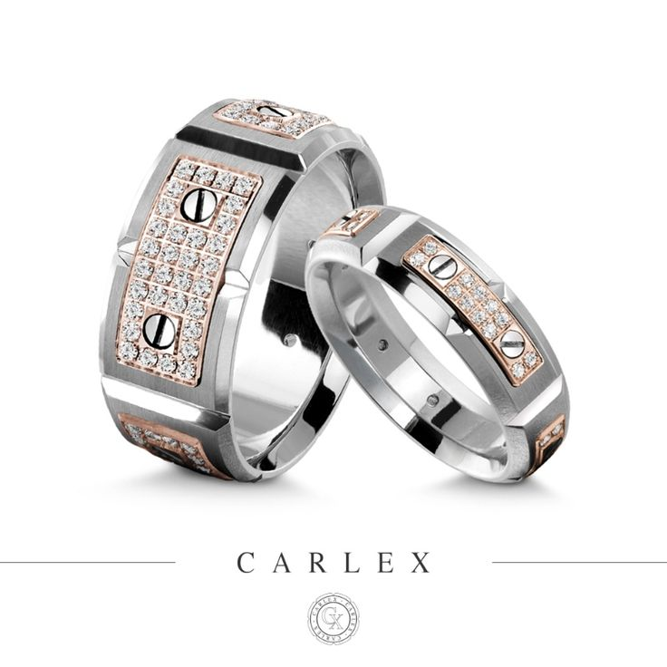 Luxurious wedding bands for him and for her, by CARLEX Collection.  See more here: http://carlexcollection.com/collection/luxury-rings/G2/details-WB-9792RW-S