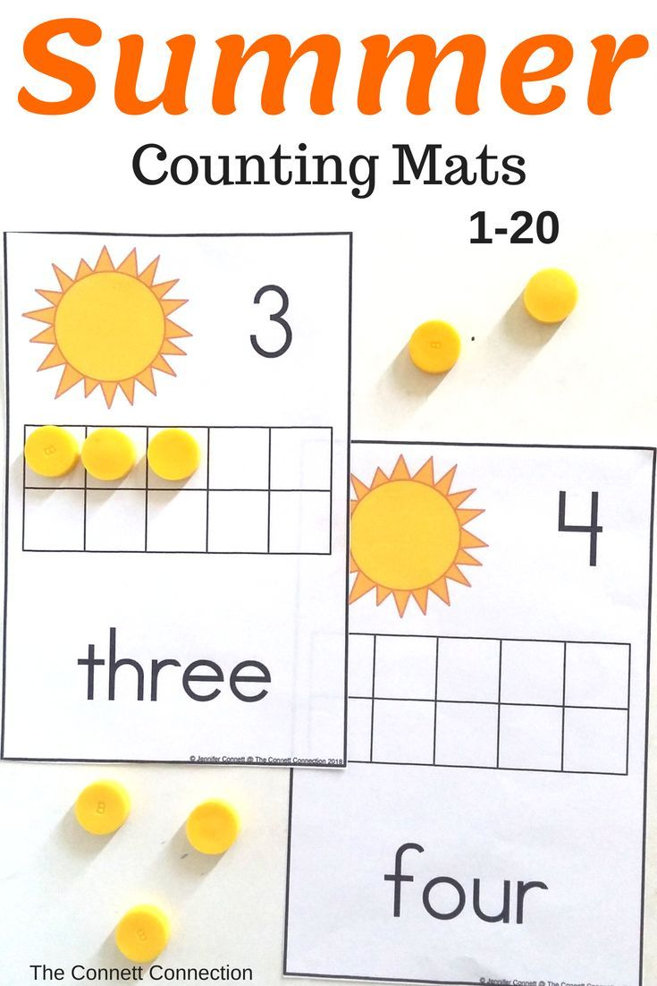 Summer Themed Counting Mats 1 20 With Suns Math Activities For Kids Holiday Lessons Counting Activities [ 1102 x 735 Pixel ]