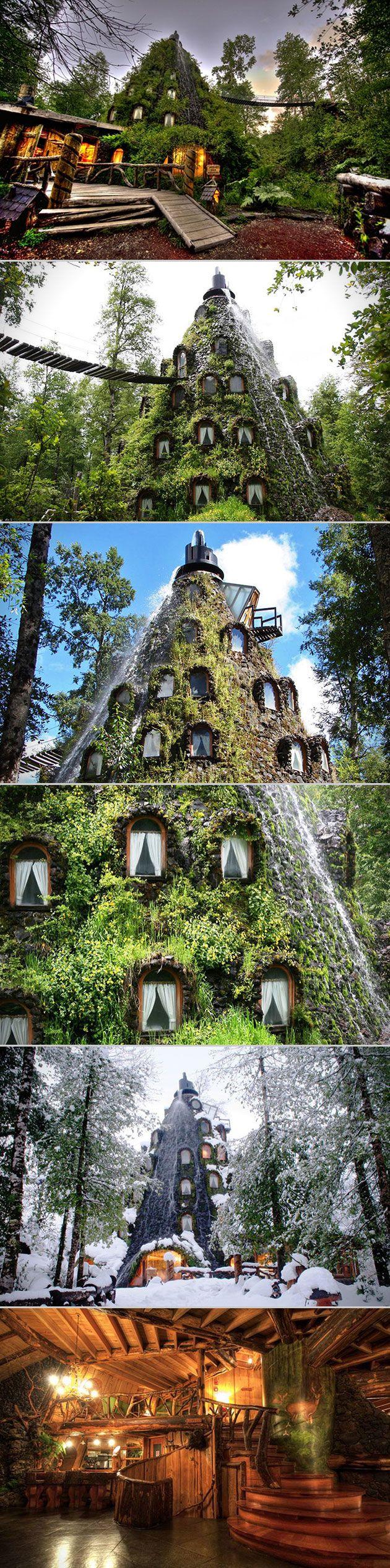 If the magic is gone between you and Motel 6, and that's entirely possible, perhaps it's time to revolutionize your lodging with a stay at the beautifully bizarre Montana Magica Hotel in Chile.   This is a four-star hotel that's shaped like a mountain, with plants, moss and vines covering the exterior. But here's the kicker: It frequently erupts and spews water down its sides.
