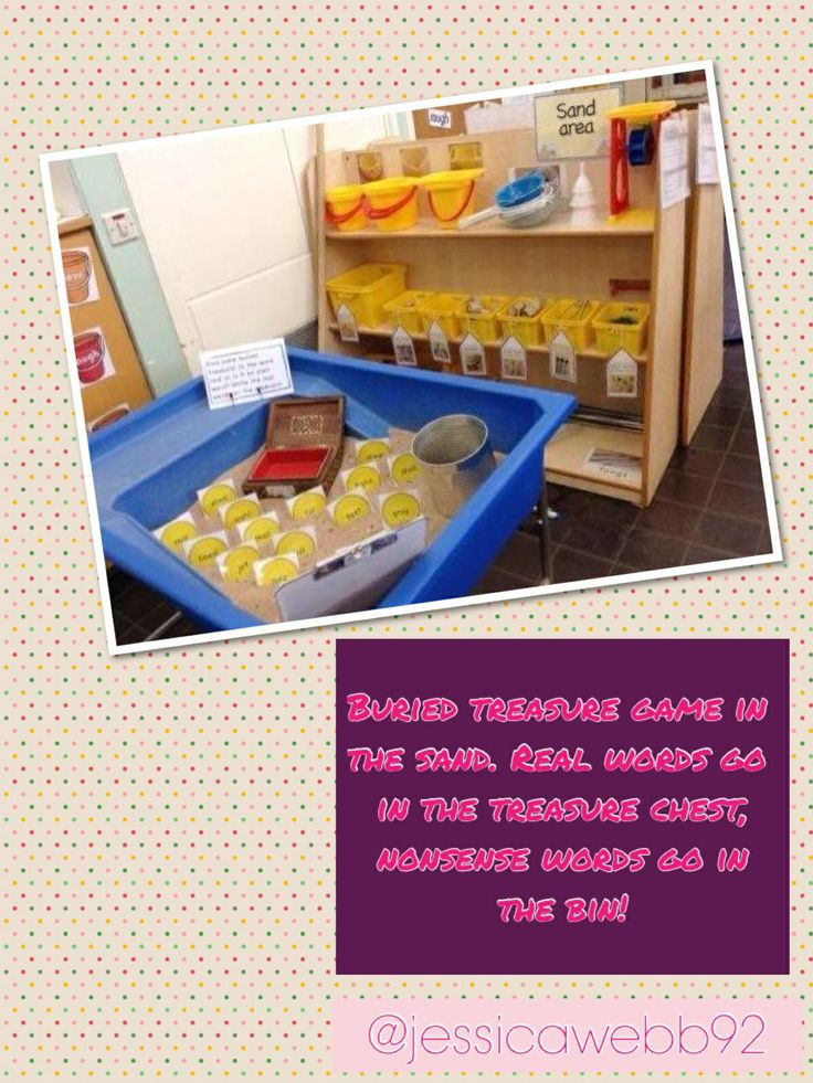 Buried treasure game in the sand. Read a word coin, if it's a real word it goes in the treasure chest, if it's a nonsense word, it goes in the bin! EYFS