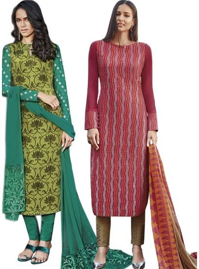 Beautiful Green & Maroon Colour Crepe Straight Cut Style Combo Suit D.No.-6542,6544