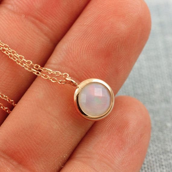 Gold Opal Necklace Solid Rose Gold Necklace Natural