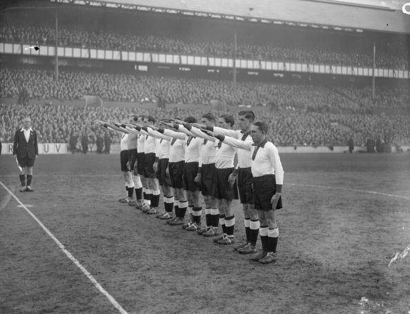 The German football team give the Nazi salute at White Hart Lane, Tottenham, 1935.