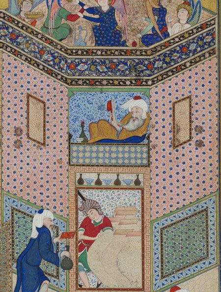 Hafez wining, reading divan on the top window while the crowd singing, dancing and drinking below. Sultan Muhammad: Allegory of Worldly and Otherworldly Drunkenness: Folio from the Divan (Collected Poems) of Hafiz [Iran].
