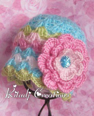 New Baby Girl Crochet Hat Girl Hat by ritadjcreations